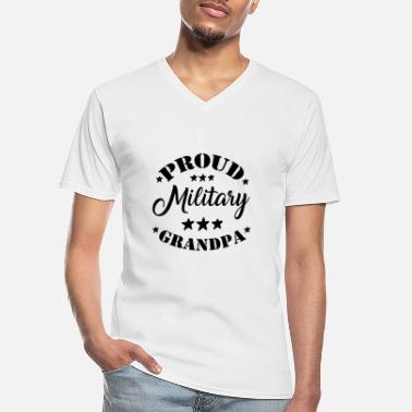 Proud Military Wife proud military grandpa - Men's V-Neck T-Shirt
