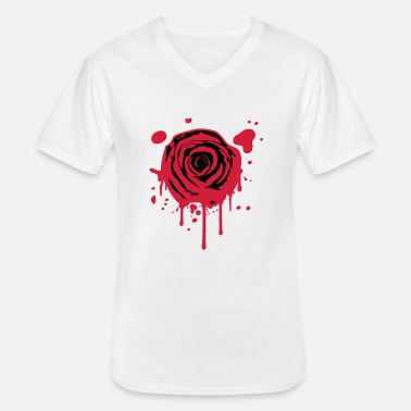 Rose Red blood splashes KLEX graffiti rose - Men's V-Neck T-Shirt