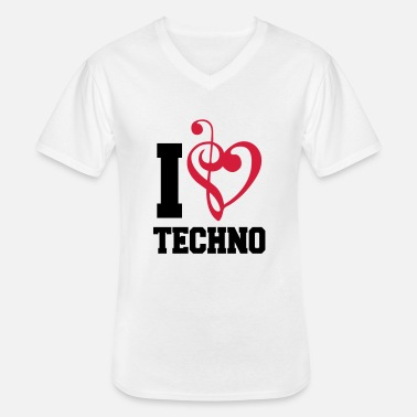 I Love Techno I Love Techno Music - Camiseta con cuello de pico hombre