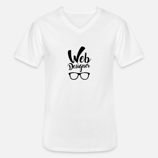 Gift Idea T-Shirts - Website Coder Homepage Web Designer Web Developer - Men's V-Neck T-Shirt white