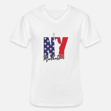 Stars NYC USA Manhattan The Big Apple America New York - T-shirt col V Homme