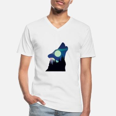 Antler Howling Wolf in the Forest - Men's V-Neck T-Shirt
