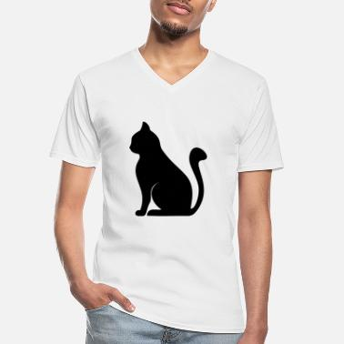 Silhouette cat silhouette - Men's V-Neck T-Shirt