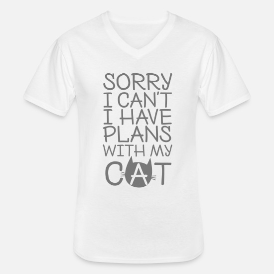 My T-shirts - Sorry I Can't I Have Plans With My Cat - Klassisk T-shirt med V-ringning herr vit