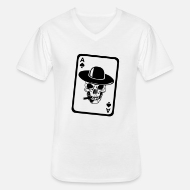 Skull poker tete mort as skull dead card carte - T-shirt col V Homme