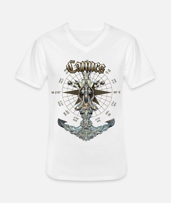 Diver T-Shirts - Cannes Anchor Nautical Sailing Boat Summer - Men's V-Neck T-Shirt white