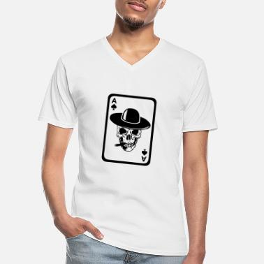 Poker poker tete mort as skull dead card carte - T-shirt col V Homme