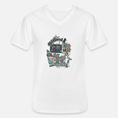 Funny barbers shop - T-shirt col V Homme