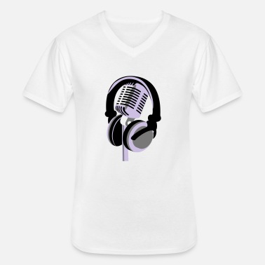 RETRO MICROPHONE AND HEADPHONES T-SHIRT - Men's V-Neck T-Shirt