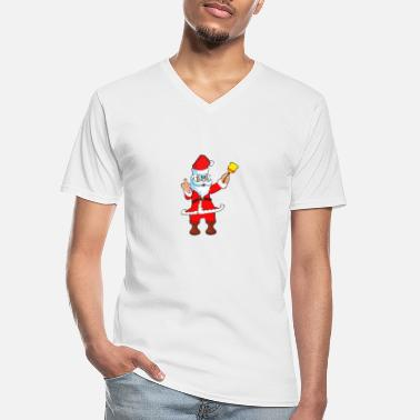 Santa Claus with a bell - Men's V-Neck T-Shirt