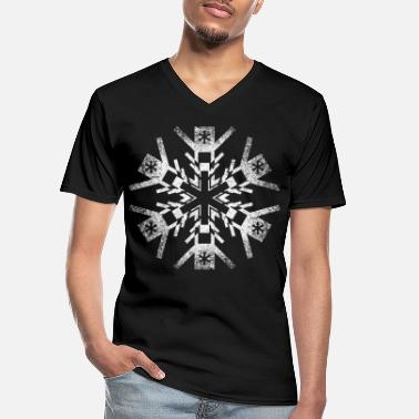 Octagon Ice crystal, snowflake - Men's V-Neck T-Shirt