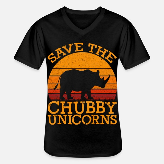 Chubby T-shirts - Funny Save the Chubby Unicorns Fat Rhino Vintage - Klassisk herre T-shirt med V-udskæring sort