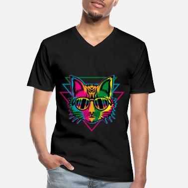 Rave Rave Backprint - Raving Cat - Men's V-Neck T-Shirt