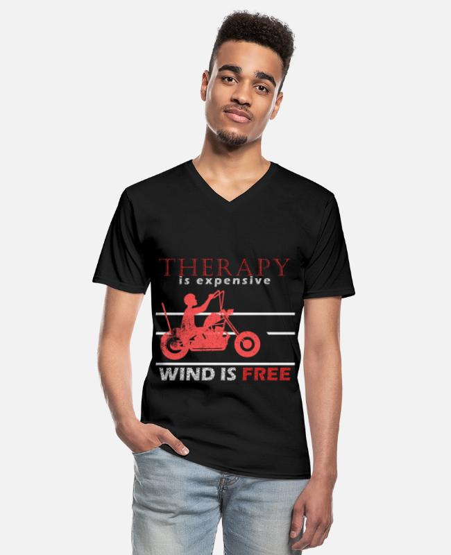 Pilot T-Shirts - Motorcyclist, motorcycle saying, biker - Men's V-Neck T-Shirt black