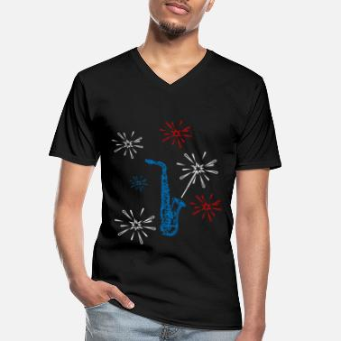 Party Saxophone Woodwind Instrument Happy New Year 2020 - Men's V-Neck T-Shirt