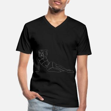 Drawing Line drawing woman - one line drawing - Men's V-Neck T-Shirt