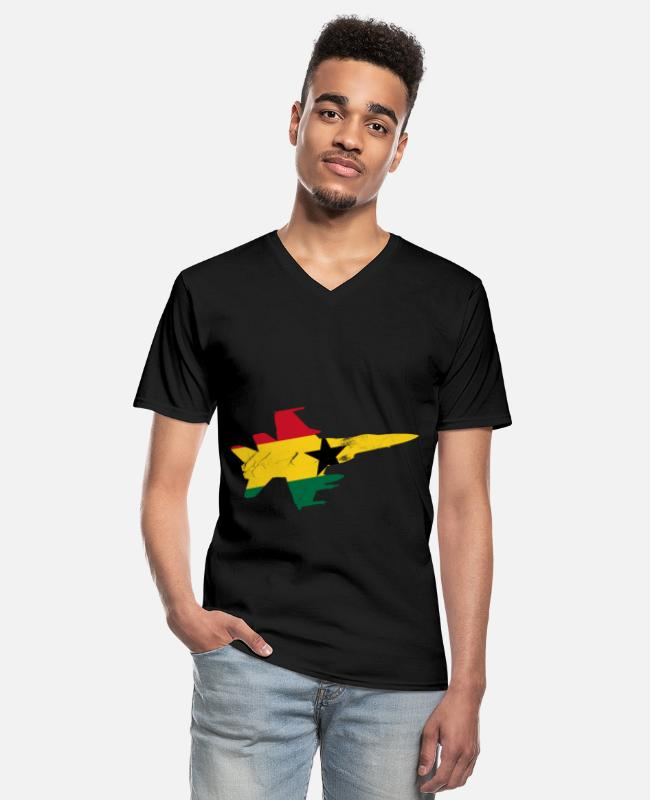 Travel T-Shirts - Ghana Flag Africa Accra Nkran Gift - Men's V-Neck T-Shirt black