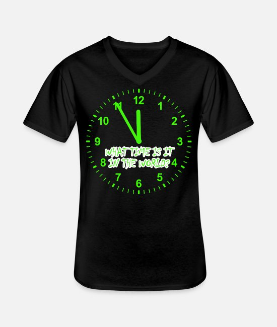 Jewelry T-Shirts - What time is it in the world - Men's V-Neck T-Shirt black