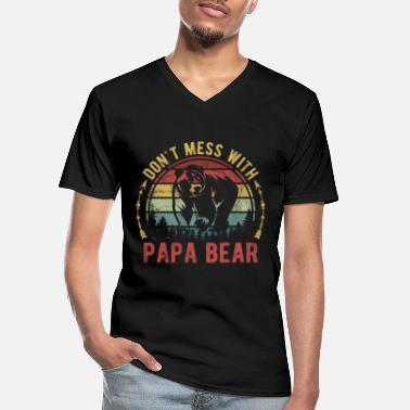 Papa Don't Mess With Papa Bear Father's Day Funny Gift - Men's V-Neck T-Shirt