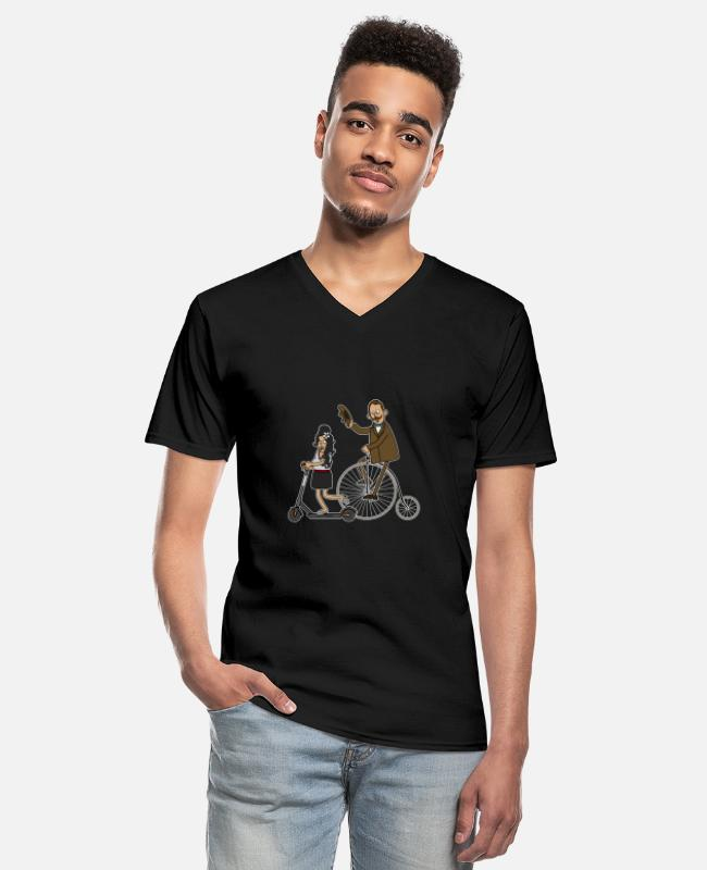 Hipster T-Shirts - Cyclists and e-scooters - dark underground - Men's V-Neck T-Shirt black
