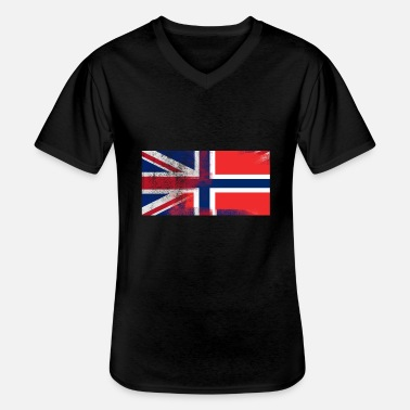 Norway British Norwegian Half Norway Half UK Flag - Men's V-Neck T-Shirt