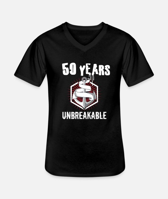 50th Birthday T-Shirts - 50 years unbreakable. - Men's V-Neck T-Shirt black