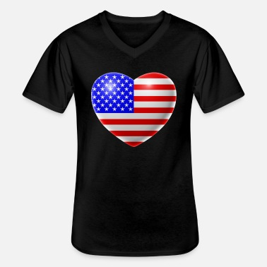 Usa Heart (USA / USA) - Men's V-Neck T-Shirt
