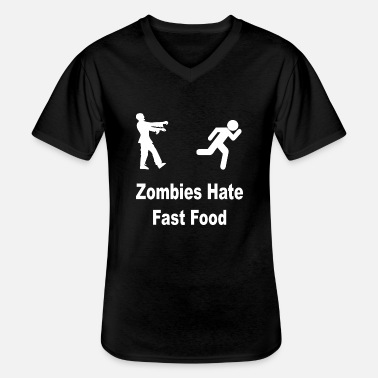 Cool Zombie hate fast food - Men's V-Neck T-Shirt