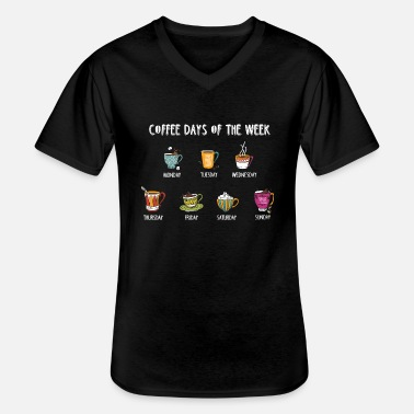 Week Coffee Days Of The Week | Coffee T-Shirt - Men's V-Neck T-Shirt