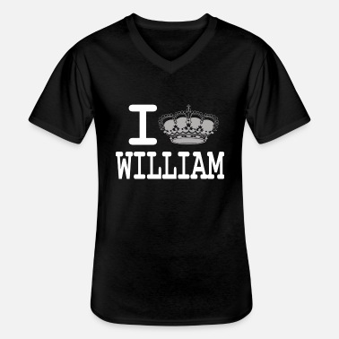 William I love William -crown - T-shirt col V Homme