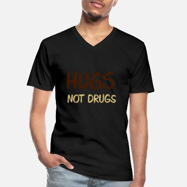 Lol hugs not drugs - Klassisk T-skjorte med V-hals for menn
