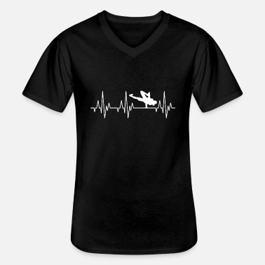 Breakdance Heartbeat ECG Breakdance Breakdance Hip-Hop - Camiseta con cuello de pico hombre
