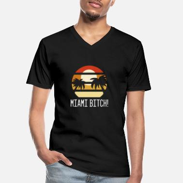 Beachparty Miami Bitch Beach Vintage Retro Palms Beachparty - Men's V-Neck T-Shirt