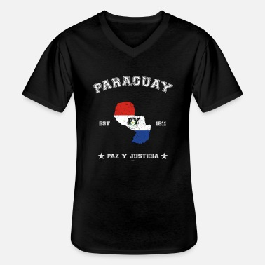 Paraguay vintage map with date of founding - Klassisk T-shirt med V-ringning herr