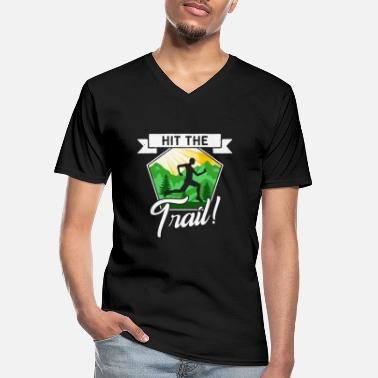 Sprinten Hit the Trail Runner Jogger Jogging Rennen Wald - Men's V-Neck T-Shirt