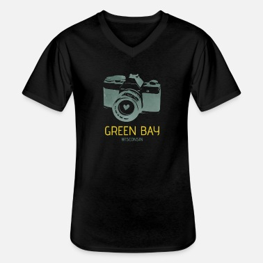 Green Bay Packers Green Bay camera with heart - Men's V-Neck T-Shirt