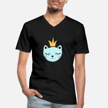 Blue cat with crown - Men's V-Neck T-Shirt