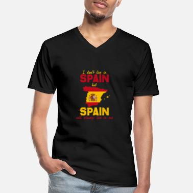 Spain Spain DNA font red yellow love gift idea - Men's V-Neck T-Shirt