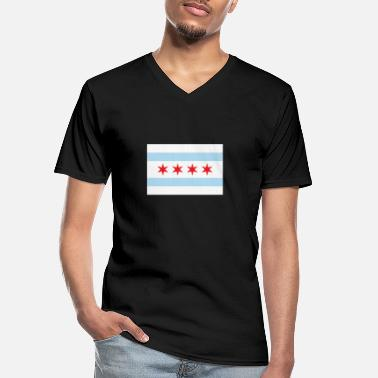 Lake Michigan Chicago Flag Gift Lake Michigan Chicago Illinois - Männer-T-Shirt mit V-Ausschnitt