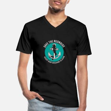 Mermaid Save Mermaids Keep Out Oceans Clean Plastic - Männer-T-Shirt mit V-Ausschnitt