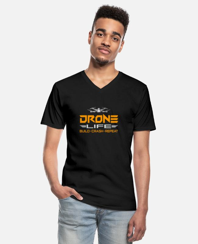 Pilot T-Shirts - Drone drone pilot drone quadrocopter gift - Men's V-Neck T-Shirt black