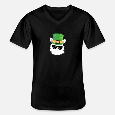 Baseball Kids St Patricks Day Irish Llama Wear Tophat - Klassisk T-skjorte med V-hals for menn