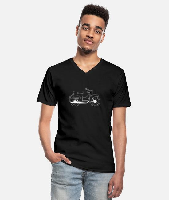 Two-stroke T-Shirts - Simson Schwalbe Gift Shirt Swallow Driver - Men's V-Neck T-Shirt black