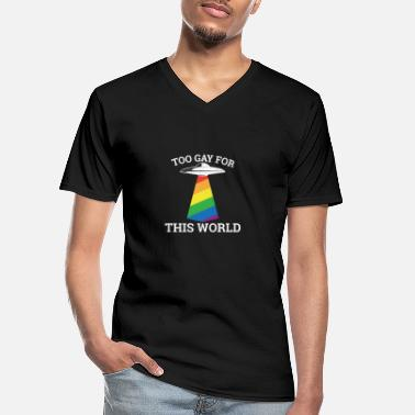 Stag Too gay for this world - gay lesbian - Men's V-Neck T-Shirt