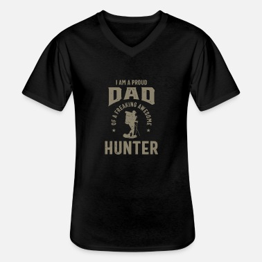 Daddy Proud Dad of an Awesome Hunter - Men's V-Neck T-Shirt