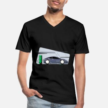 Sportscar Electric Car Automobile Electricity Green Gift - Men's V-Neck T-Shirt