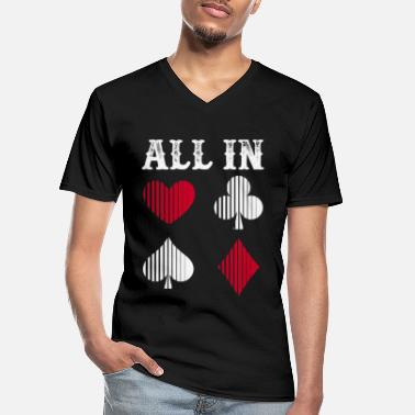 Vegas All In Poker Fun Games Casino Card Games Gift - Camiseta con cuello de pico hombre
