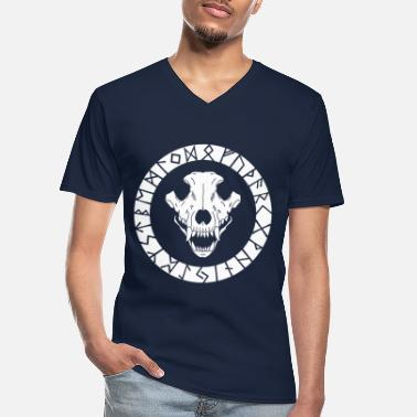 Raider White Viking wolf skull - Men's V-Neck T-Shirt