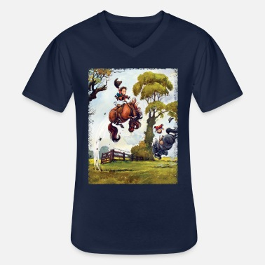 Norman Thelwell PonyRodeo Thelwell Cartoon - Men's V-Neck T-Shirt