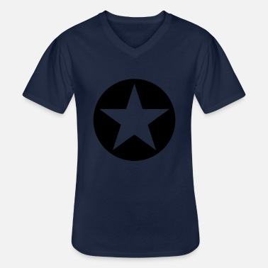 Sterren star single blackcircle single - Klassisk T-shirt med V-ringning herr